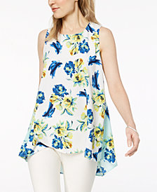 Alfani Floral-Print High-Low Top, Created for Macy's