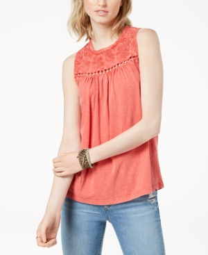 Lucky Brand Cotton Embroidered-Yoke Top