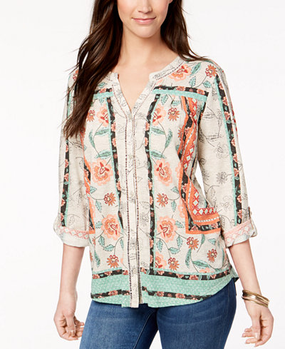 Style & Co Petite Printed Split-Neck Shirt, Created for Macy's