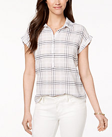 Style & Co Plaid Cotton Shirt, Created for Macy's
