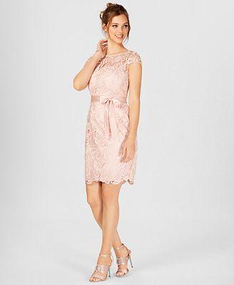 Adrianna Papell Lace Cap Sleeve Illusion Sheath Dress Dresses