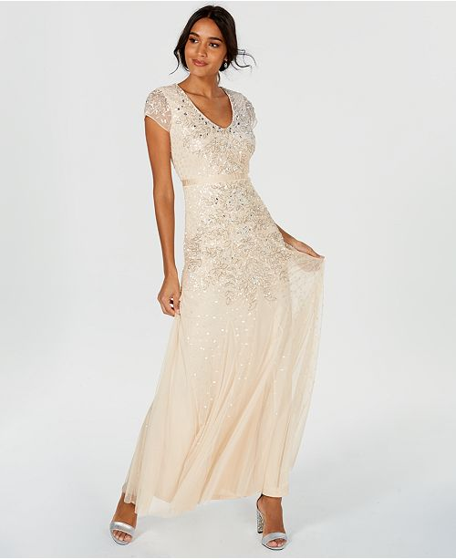 ... Adrianna Papell Cap-Sleeve Embellished Gown ...