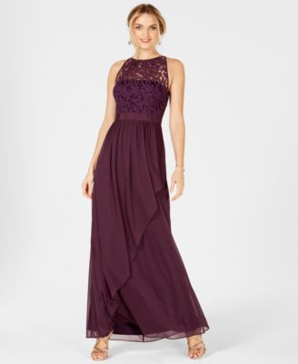 Lace Illusion Halter Gown