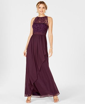 Adrianna Papell Lace Illusion Halter Gown Dresses Women Macy S