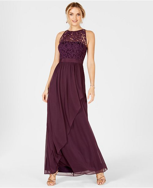 572afc5b3997 Adrianna Papell Lace Illusion Halter Gown   Reviews - Dresses ...