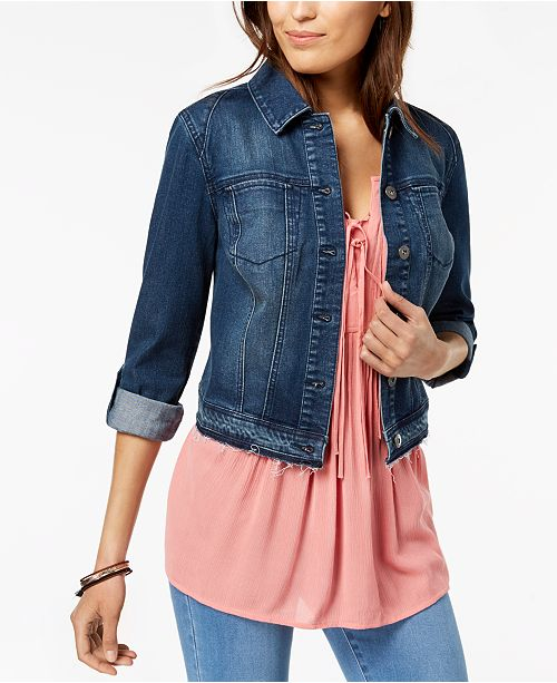 Style & Co Petite Cropped Denim Jacket, Created for Macy's