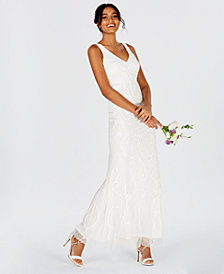 Adrianna Papell Beaded V-Neck Gown