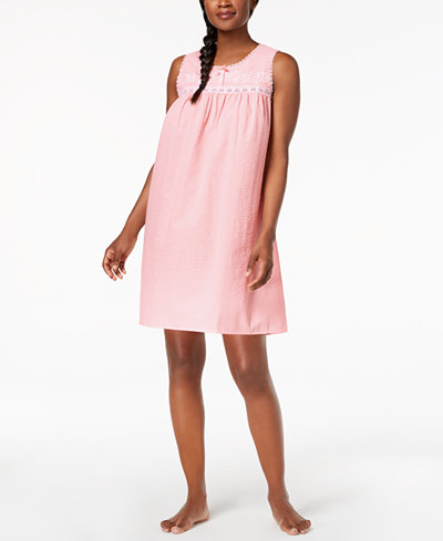Charter Club Crochet-Trim Woven Nightgown, Created for Macy's