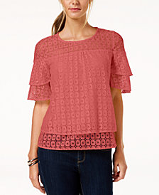 NY Collection Petite Tiered Lace Top