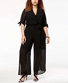 Monteau Trendy Plus Size Illusion Jumpsuit