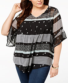 Style & Co Plus Size Mixed-Print Sheer Pintuck Blouse, Created for Macy's