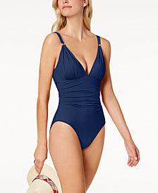 Lauren Ralph Lauren Tummy-Control Corset-Back One-Piece Swimsuit