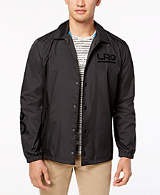 LRG Men's Flocked-Logo Waterproof Coaches Jacket