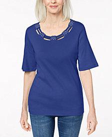 Karen Scott Cotton Embellished T-Shirt, Created for Macy's