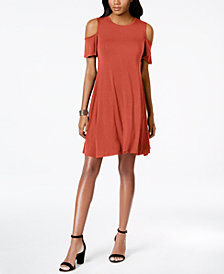 Style & Co Petite Flutter-Sleeve Cold-Shoulder Dress