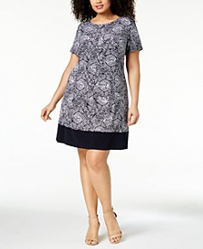 Plus Size Printed Boat-Neck Dress