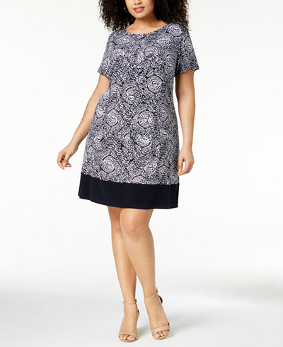 Connected Plus Size Printed Boat-Neck Dress