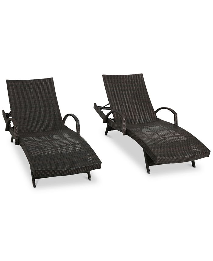 Noble House - Ventura Outdoor Chaise Lounge (Set Of 2), Quick Ship