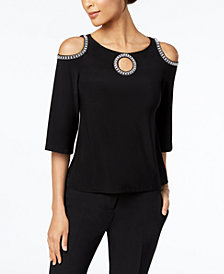 MSK Petite Embellished Cold-Shoulder Top