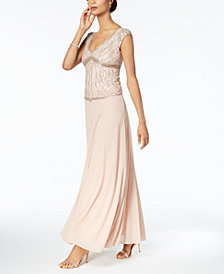 J Kara V-Neck Beaded Gown