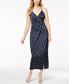 Bardot Dot-Print Wrap Maxi Dress