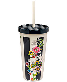 Vera Bradley Midnight Floral Stripe Travel Tumbler