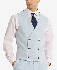 Tommy Hilfiger Men's Modern-Fit THFlex Stretch Blue/White Stripe Seersucker Double-Breasted Suit Vest