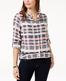 NY Collection Petite Plaid Utility Shirt
