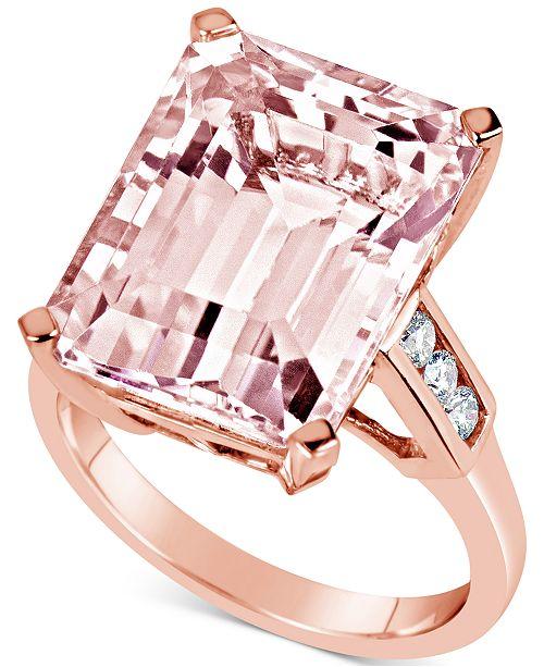 Macy's Morganite (13 ct. t.w.) & Diamond (1/5 ct. t.w.) Ring in 14k Rose Gold