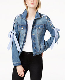 Maison Jules Lace-Up Denim Jacket, Created for Macy's