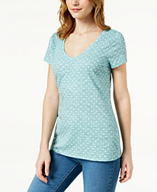 Maison Jules Polka-Dot V-Neck T-Shirt, Created for Macy's