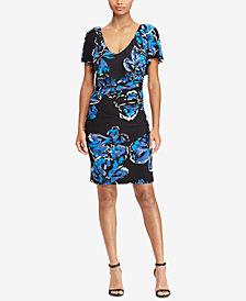 Lauren Ralph Lauren Ruffled Overlay V-Back Sheath Dress, Regular & Petite Sizes