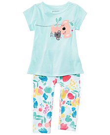First Impressions Graphic-Print Tunic & Floral-Print Leggings Separates, Baby Girls, Created for Macy's