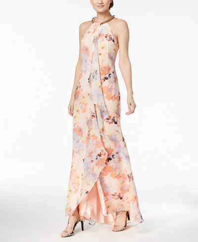 Calvin Klein Embellished Ruffled Gown