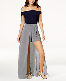 Teeze Me Juniors' Off-The-Shoulder Maxi Romper