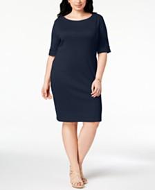 f7b0a82e782 Karen Scott Plus Size Cotton Shift Dress