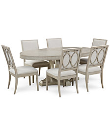 Rachael Ray Cinema Round Dining Furniture, 7-Pc. Set (Expandable Dining Table & 6 Upholstered Side Chairs)