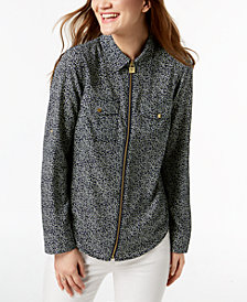MICHAEL Michael Kors Zippered Print Blouse, Regular & Petite