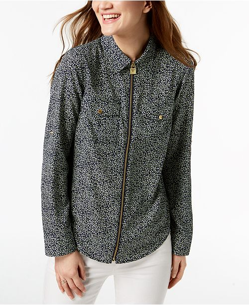 9da8563cfdeda Michael Kors Zippered Print Blouse, Regular & Petite & Reviews ...