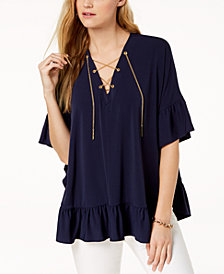 MICHAEL Michael Kors Chain Lace-Up Caftan Top