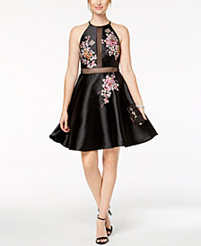Xscape Embroidered Illusion Fit & Flare Dress