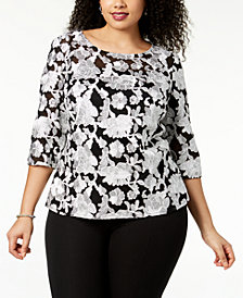 Alex Evenings Plus Size Embroidered Mesh Top