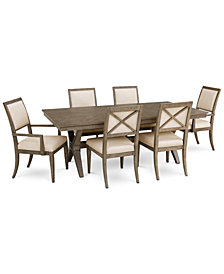 Bridgegate Rectangular Expandable Dining Furniture, 7-Pc. Set (Dining Table, 4 Upholstered Back Side Chairs & 2 Upholstered Back Arm Chairs)