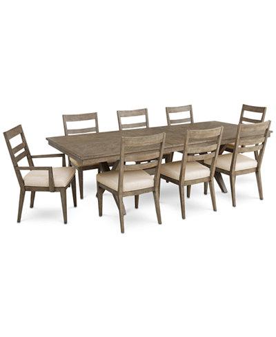 Bridgegate Rectangular Expandable Dining Furniture, 9-Pc. Set (Dining Table, 6 Slat Back Side Chairs & 2 Slat Back Arm Chairs)