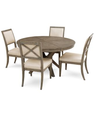 Bridgegate Round Expandable Dining Furniture, 5-Pc. Set (Dining Table & 4 Upholstered Side Chairs)