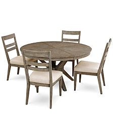 Bridgegate Round Expandable Dining Furniture, 5-Pc. Set (Dining Table & 4 Slat Back Side Chairs)