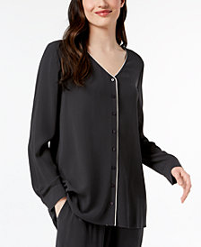 Eileen Fisher Silk Piped-Trim Blouse, Regular & Petite