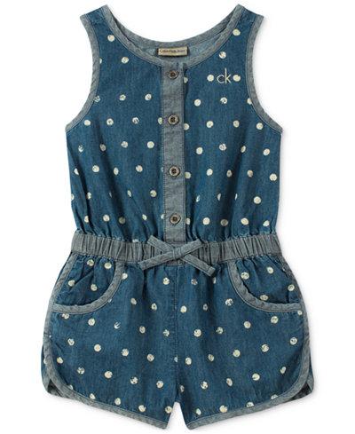 Calvin Klein Dot-Print Cotton Denim Romper, Toddler Girls