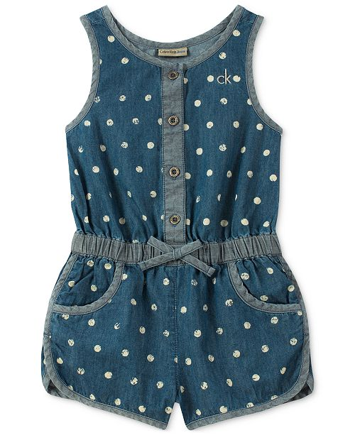 Dot-Print Cotton Denim Romper, Toddler Girls