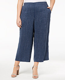 Eileen Fisher Plus Size Linen Wide-Leg Pants